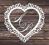 Свадебный герб, инициалы на свадьбу, монограмма, семейный герб из дерева - сердце  7