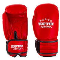 Перчатки боксерские TOP TEN 8 унций кожа красные, фото 1