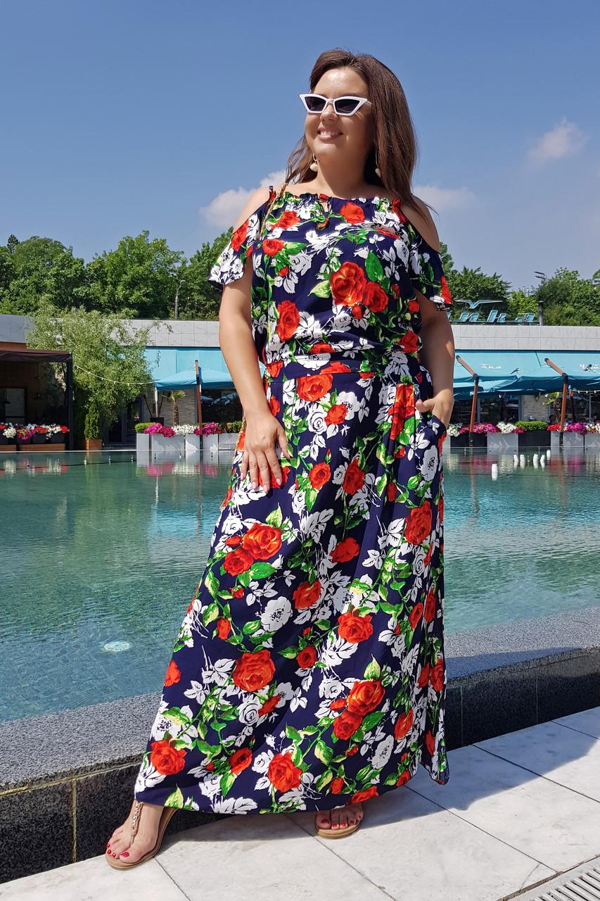 Платье длинное Цветы 04082