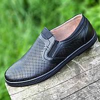 Мужские летние повседневные туфли кожаные в дырочку черные (Код: 1490)