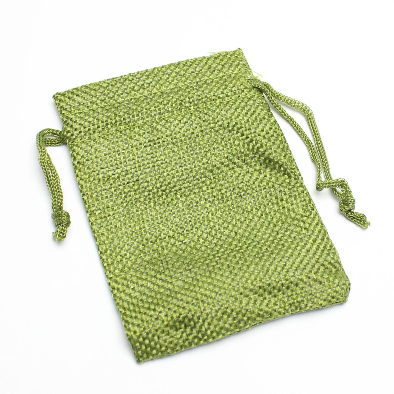 Мешок тканевый лен зеленый  7/9 см
