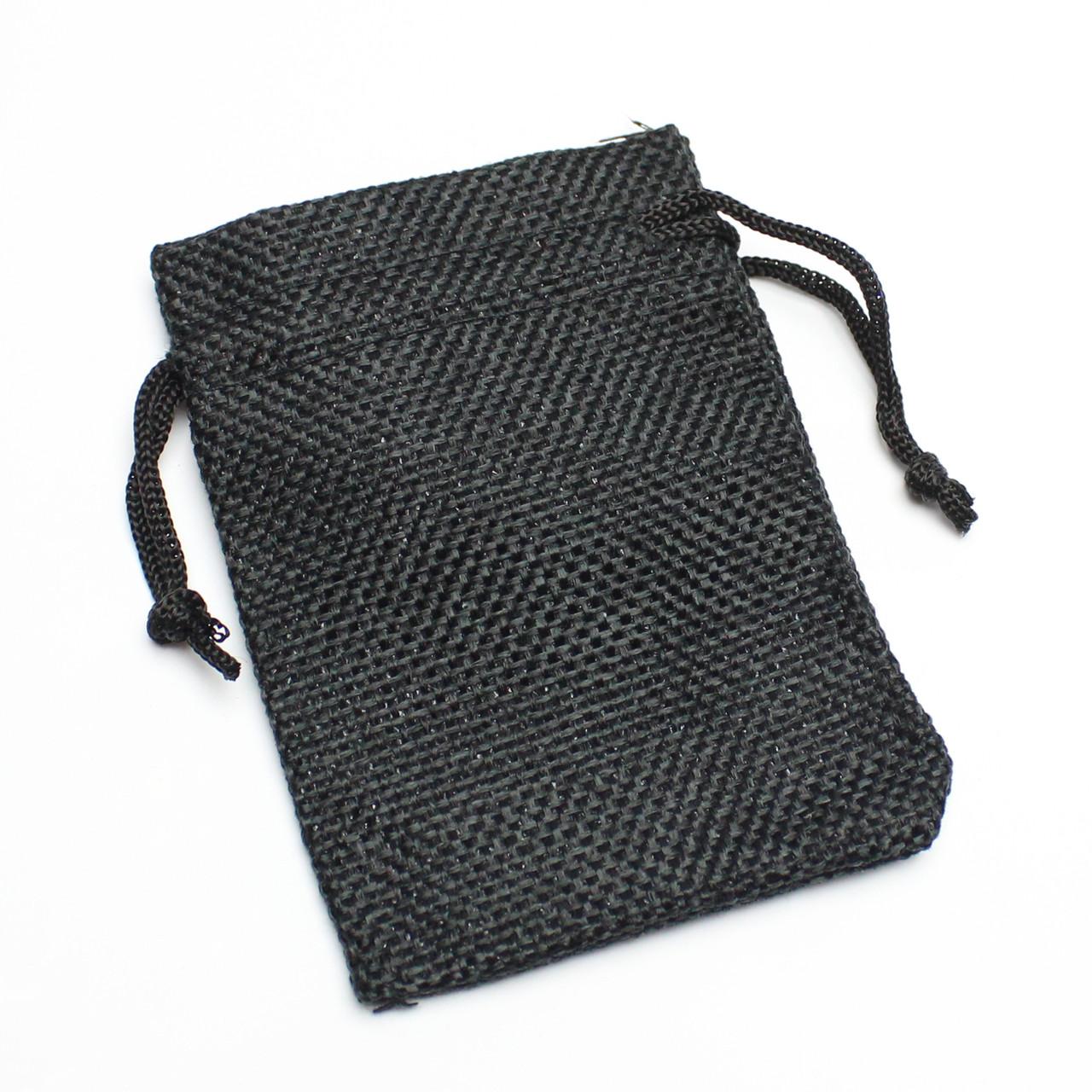 Мешок тканевый лен черный  7/9 см
