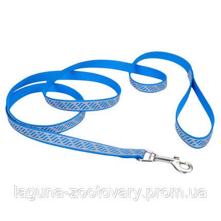 Coastal Lazer светоотражающий поводок1.2м/16мм  для собак, нейлон, мотив -  голубая волна, фото 2