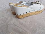 Шльопанці на корковій платформі білі 37 р ,, фото 2