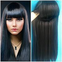 Парик чёрный длинные волосы с чёлкой