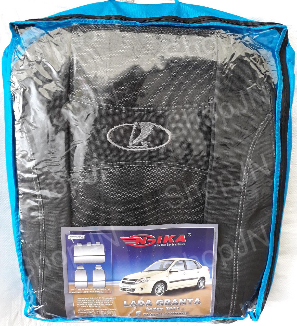 Авто чехлы Lada Granta 2011- sedan (цельная) 5 подголовников Nika