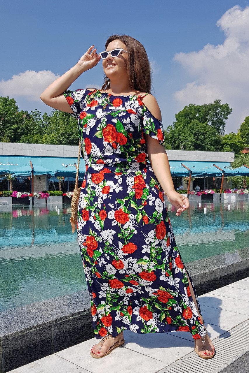 Платье длинное Цветы 04082/1