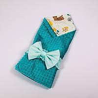 Летний конверт-плед на выписку с плюшем бирюзового цвета BabySoon 78х85см Лесные истории, фото 1