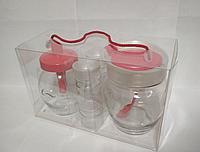 Кухонный набор из 4 предметов (сахарница, емкость для сыпучих с ложкой, 2 спецовницы) Блистер Everglass