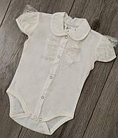 Боди нарядный белый с коротким рукавом для девочки размер 74(на 9-12 месяцев)