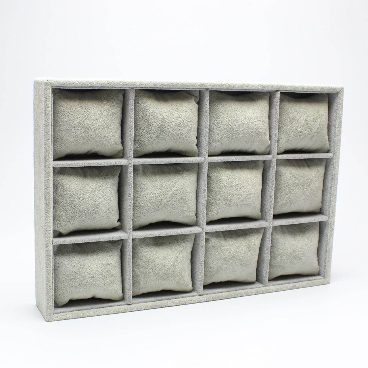"""Планшет ювелирный """"12 Ячеек с подушками 35 х 24 х 5 см"""" серый"""