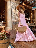 Платье в пол женское романтичное летнее лен с оборками Sml3445