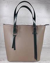 634 Натуральная кожа, Сумка-тоут трапеция женская кожаная сумка бежевая, женская сумка кожаная бежевая, фото 2
