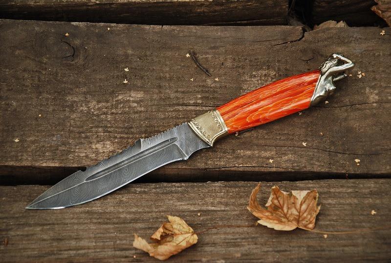 """Нож для охоты ручной работы """"From dusk to dawn"""", дамаск"""