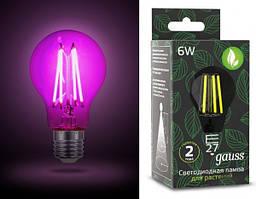 Світлодіодна лампа ГАУССА Fito Filament A60 6 Вт 1000K E27 220-240 В для рослин