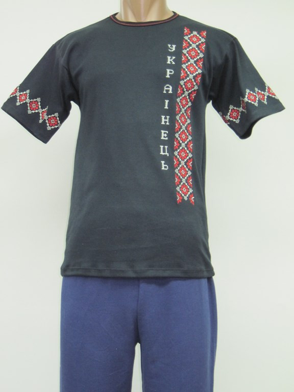 Мужская вышиванка - футболка Украинец черная