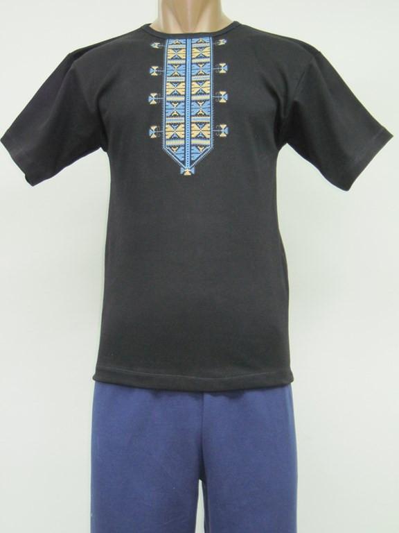 Вышиванка - футболка мужская с синими узорами