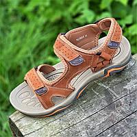 Босоножки сандалии мужские кожаные рыжие на липучках (718) - босоніжки сандалі чоловічі шкіряні літні рижі