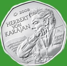 Австрия 5 евро 2008 г.100-летие со дня рождения Герберта фон Караяна , UNC.