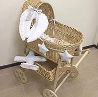 Плетеная люлька (колыбель) ручной работы на колесах