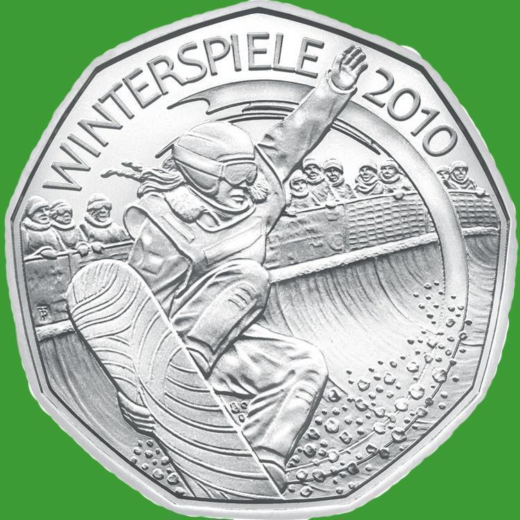 Австрія 5 євро 2010 р. Лижний спорт , UNC. срібло