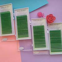 Цветные ресницы Нагараку зеленые С 0.10 (7-15)