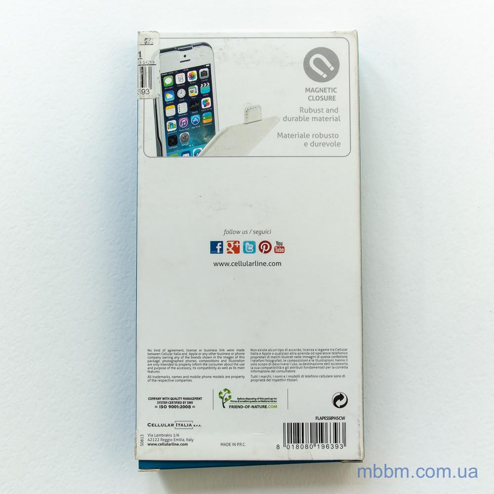 Чехол Cellular Line Flap Essential iPhone 5c white Apple 5C
