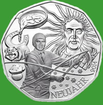 Австрия 5 евро 2014 г. Новый год ,(серебро)