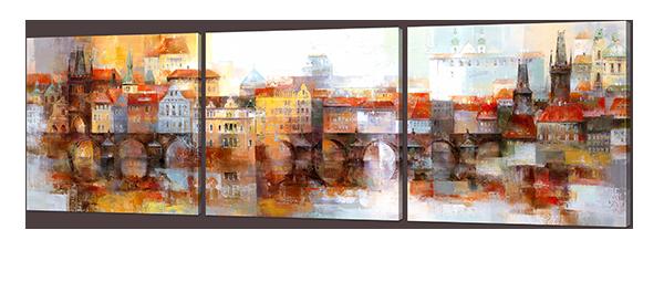 Модульная картина Interno Искусственный холст Город осенний 53х163см (Z958XL)