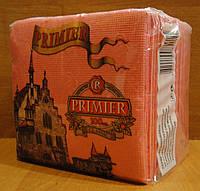 Салфетка бумажная премьер 24*24 100л розовая