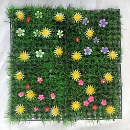 Трава коврик декоративный с цветочками 25*25 см