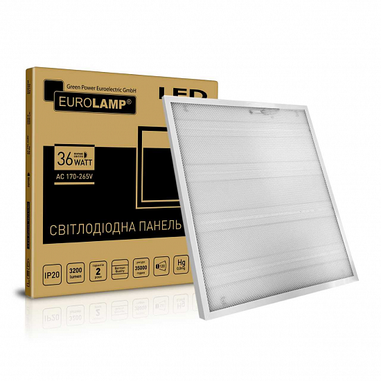 Eurolamp LED Panel 36W 3200Lm RA70 4100К Prismatic светодиодная LED-панель 600х600 ПРИЗМАТИК