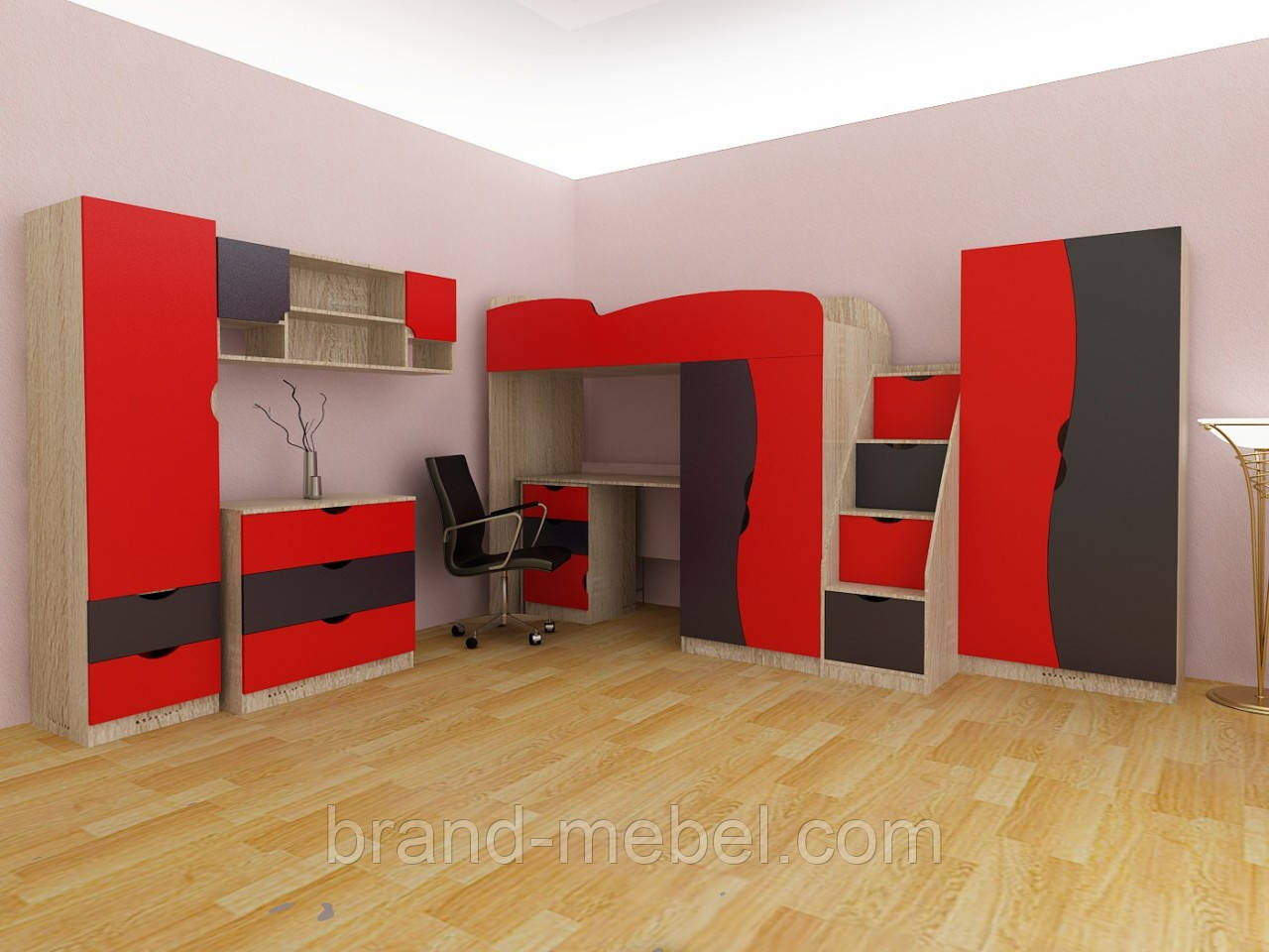 Детская комната Teenager (графит-красный)