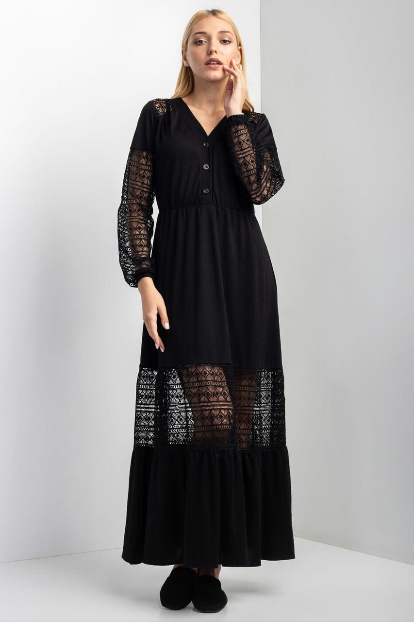 Черное нарядное платье AREA с кружевными рукавами и широким воланом на юбке m