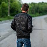 Чоловіча демісезонна куртка (бомбер), чорного кольору, фото 2