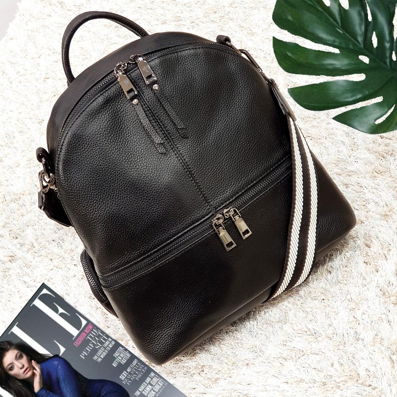 Стильный черный рюкзак из натуральной кожи