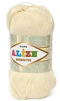Пряжа Alize Bamboo Fine молочный №01 Бамбуковая для Ручного Вязания