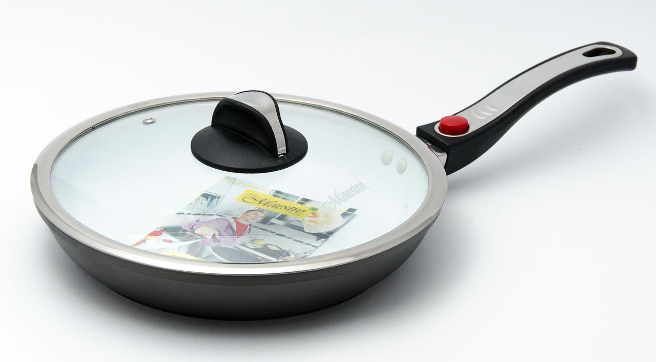 Сковорода керамическая антипригарная 24 см, с крышкой