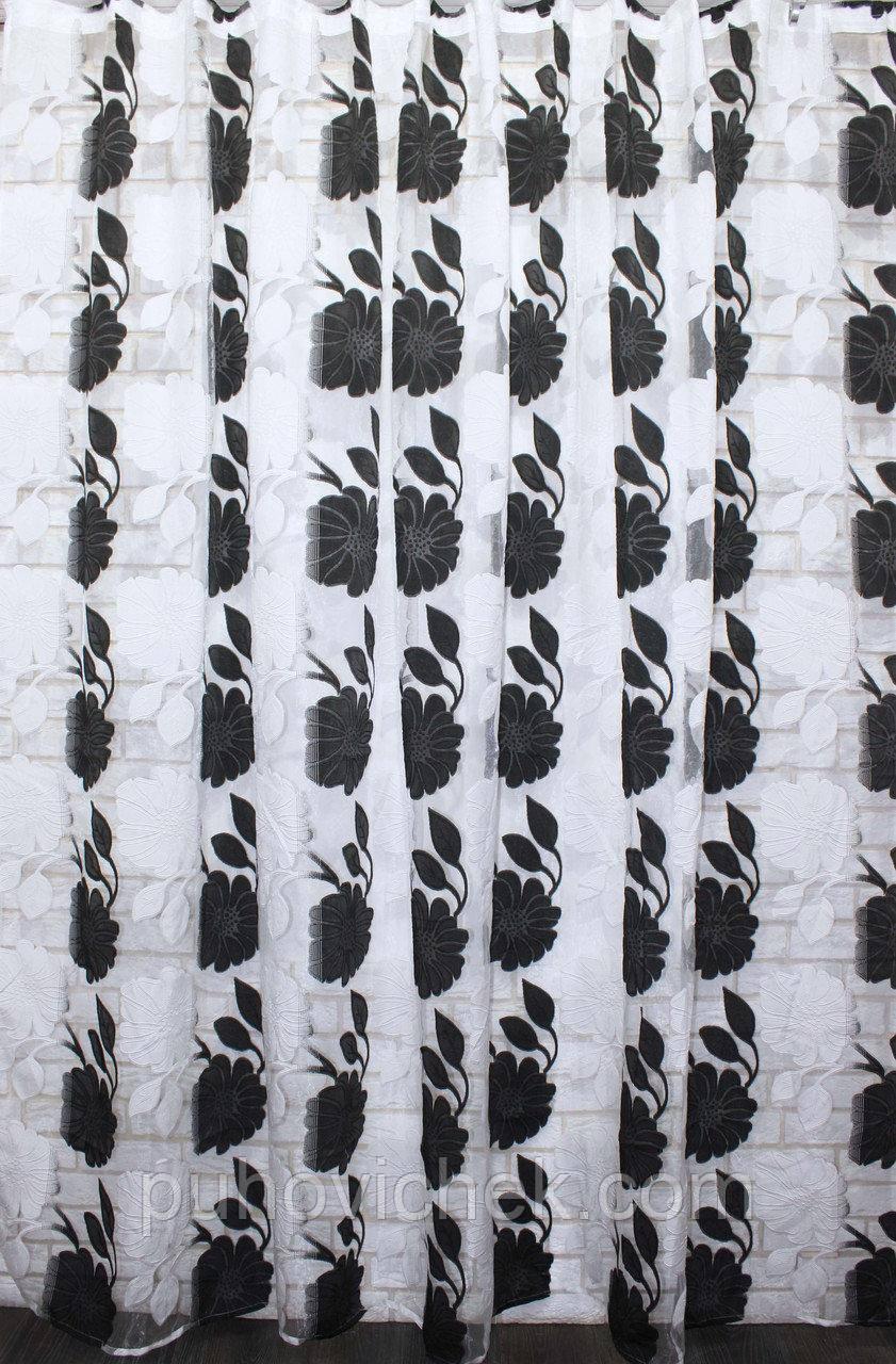 Тюль с рисунком черно белая интернет магазин