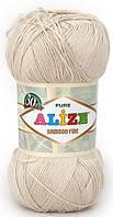 Пряжа Alize Bamboo Fine молочно-бежевый №67 Бамбуковая для Ручного Вязания