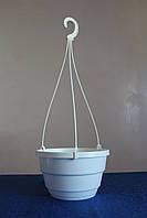 Горшок подвесной 2,5л (20х12,5см) с подвесом,белый,50шт\уп