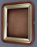 Киот для иконы из ольхи ровный, с закруглёнными углами.