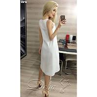 Платье из коттона спереди с вырезом №179|Дева Размер:44-46; Цвет:Белый