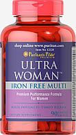 Витамины для женщин Puritan's Pride Ultra Women™ Daily Multi Iron Free Timed Release 90 капс.