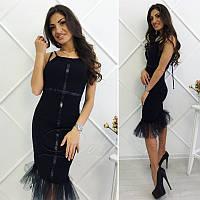 Платье из вискозы с фатином №238|Дева Размер:42-44; Цвет:Мята