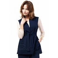 Деловой костюм из креп трикотажа №276|Дева Размер:48-50; Цвет:Темно синий