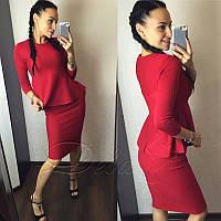 Женский костюм из французского трикотажа №274|Дева Размер:42-44; Цвет:Красный