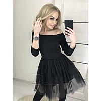 Платье мини с фатиновой юбкой №293|Дева Размер:44-46; Цвет:Черный
