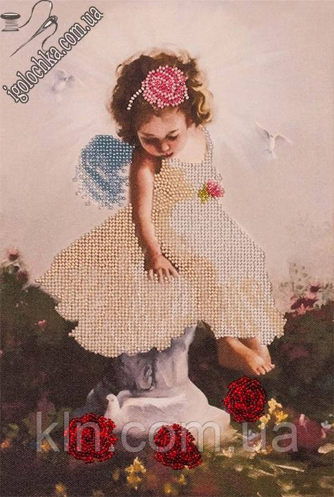 Набор для вышивания бисером FLF-005FLF-015Ангелочек с голубями20*30 Волшебная страна качественный