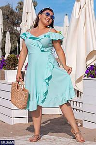 Женское красивое однотонное легкое летнее миди платье на запах,юбка клёш пушистым воланом (софт)3 цвета(батал)